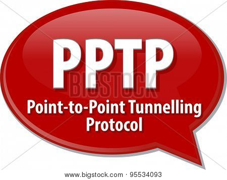 Speech bubble illustration of information technology acronym abbreviation term definition PPTP Point to Point Tunnelling Protocol