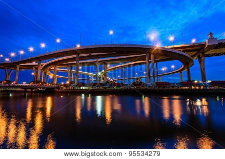 The Bhumibol Bridge also known as the Industrial Ring Road Bridge, at twilight, Bangkok, Thailand