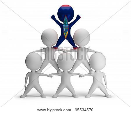 3d small people standing on each other in the form of a pyramid with the top leader Guam