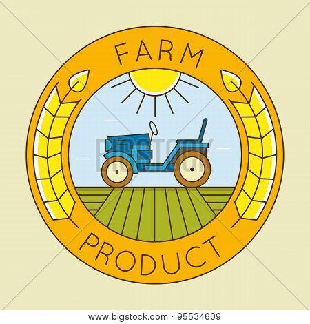 Farm Tractor Emblem Logo - Natural Farm Product
