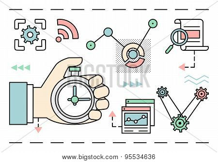 Vector Linear Concept Of Process Social Media Business And Marketing. Startup, Business Planning And