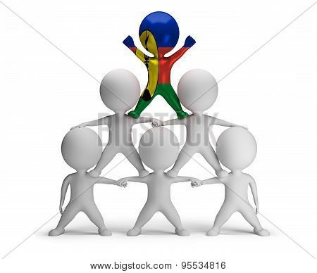 3d small people standing on each other in the form of a pyramid with the top leader New Caledonia