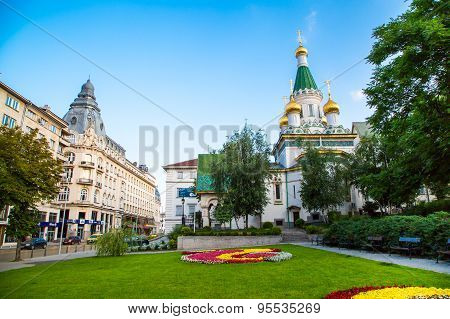 The Russian church in the centre of Sofia city, Bulgaria