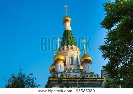 Cupola of Russian church in Sofia city, Bulgaria