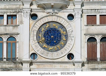 Exteriror detail of the Torre dell Orologio (Clock Tower) in Venice, Italy.