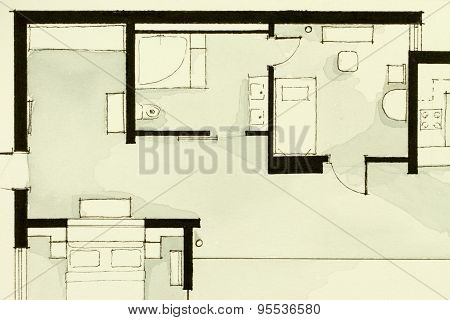 Inspiring black and white watercolor illustrative condo apartment partial real estate floor plan