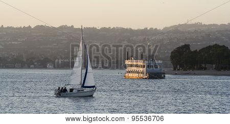 A Sailboat And Sternwheeler On Mission Bay