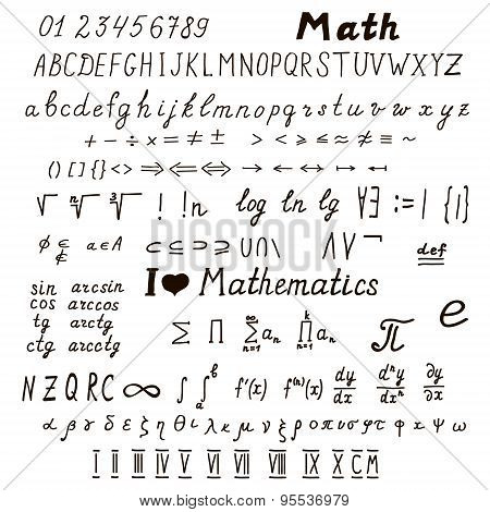 Set Of Mathematical Signs And Symbols