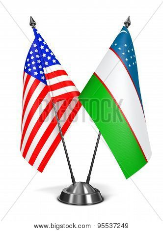 USA and Uzbekistan - Miniature Flags.