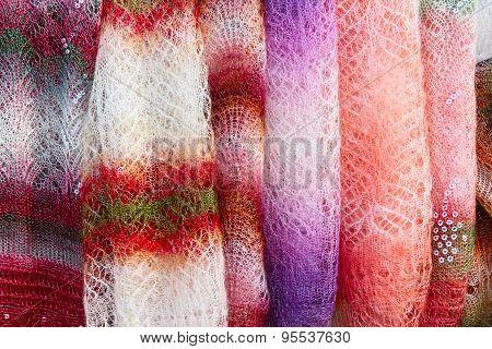 Color Orenburg Shawls Hanging For Sale.