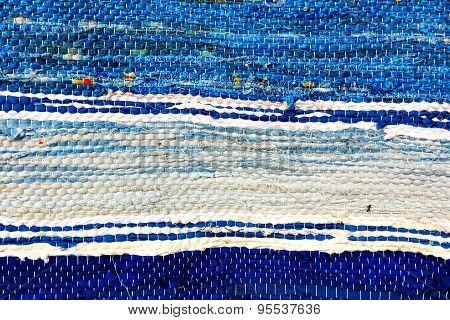 Blue Handmade Rug Tekxure Pattern.background.
