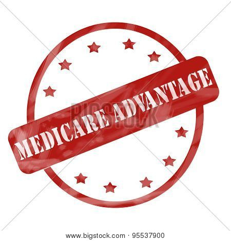 Red Weathered Medicare Advantage Stamp Circle And Stars