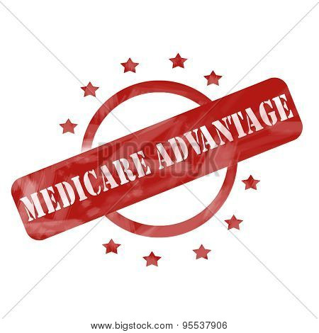 Red Weathered Medicare Advantage Stamp Circle And Stars Design