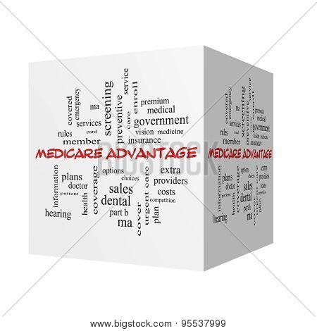 Medicare Advantage 3D Word Cloud Concept In Red Caps