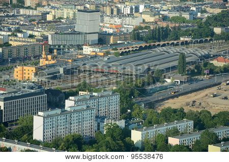 Aerial View Of Main Railway Station In Wroclaw City.