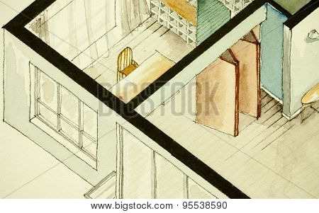 Isometric partial architectural watercolor drawing of apartment condo floor plan