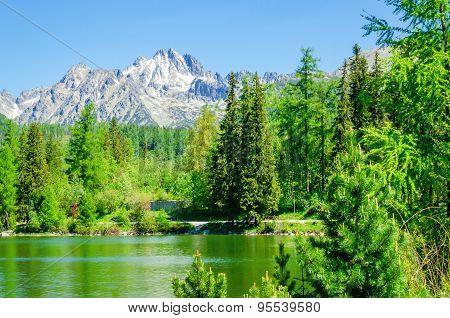 Beautiful mountain lake, Strbske Pleso High Tatras