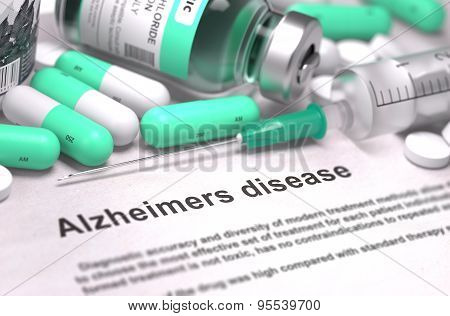 Diagnosis - Alzheimers Disease. Medical Concept with Blurred Background.