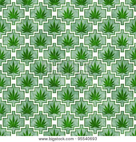 Green And White Marijuana Tile Pattern Repeat Background