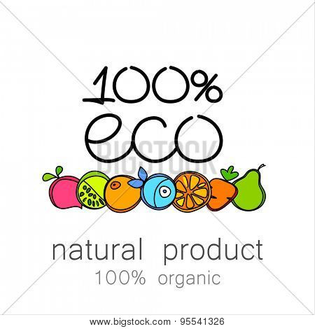 100% organic - template logo for natural organic products