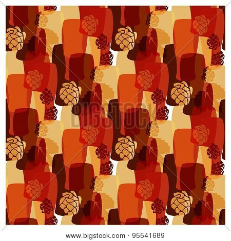 Vector Pattern With Beer Glasses, Hops Different Warm Colors Of Fall
