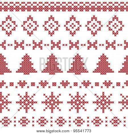 Nordic Pattern With Christmas Elements Stitched In Red