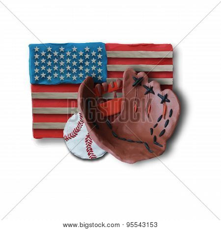 Baseball handmade glove and ball