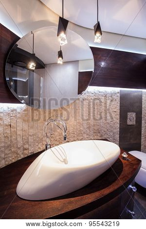 Designed Washbasin In Modern Bathroom