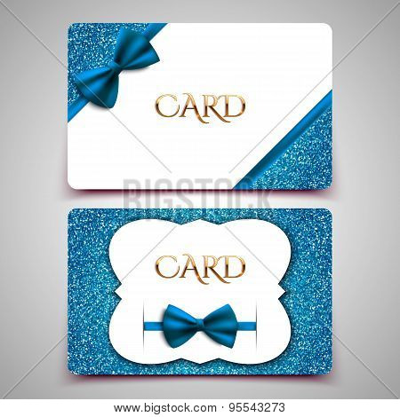 Gift Cards Vector Card Template, Club Member Card, Blue Bow And Glitter