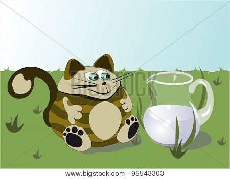 Cat And Jug Of Milk
