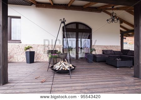 Modern Patio With Fireplace