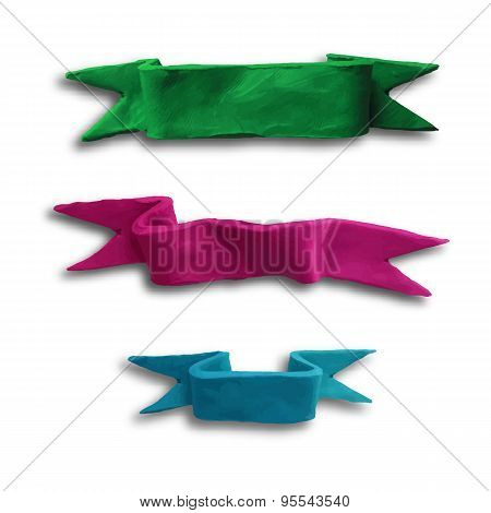 Set of banners ribbons