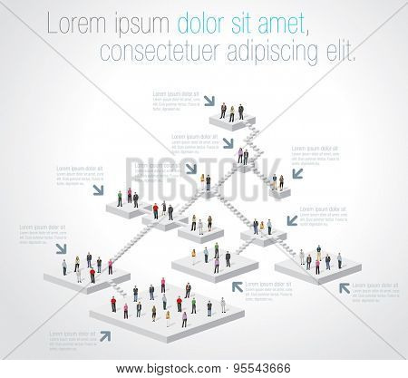 Template for advertising brochure with business people on hierarchy tree