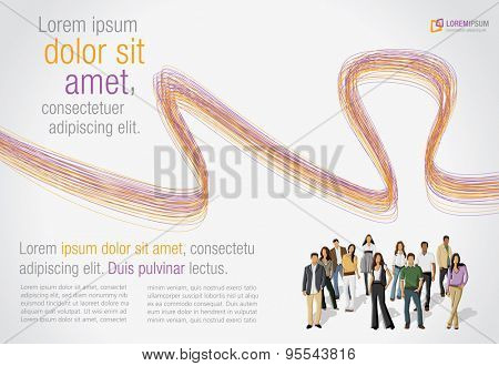 Orange and purple colorful template for advertising brochure with business people