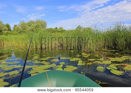 Fishing from boat among lilys in lake