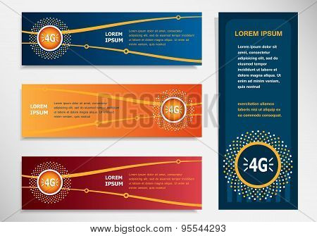 4G Sign Icon On Modern Abstract Flyer, Banner, Brochure Design Template.