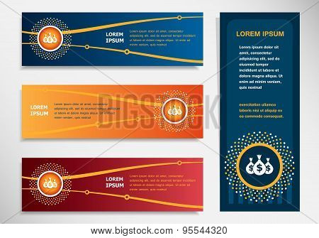 Money Icon With Three Bags On Modern Abstract Flyer, Banner, Brochure Design Template.