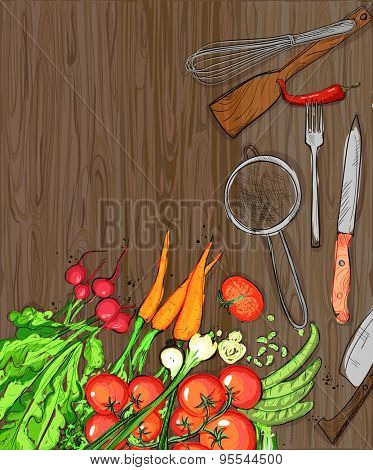 Healthy organic vegetables and kitchen utensil on a dark  wooden table backdrop with place for text, eps10