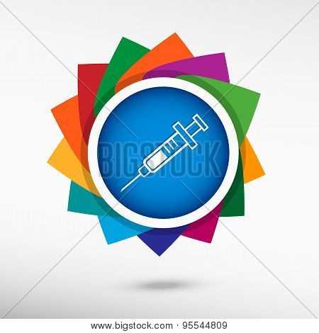 Syringe Icon Color Icon, Vector Illustration