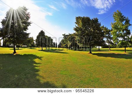 The most romantic landscape park garden in Italy. Lovely green grassy lawn at sunset