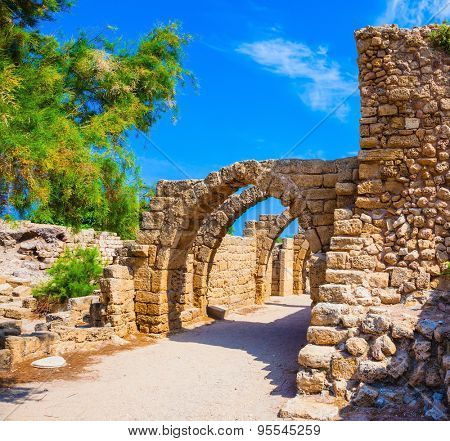 National park Caesarea on the Mediterranean Sea. Israel. Perfectly remained ancient arch overlappings of malls