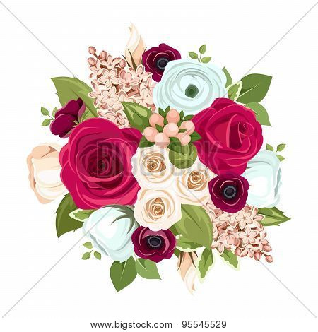 Bouquet with red, white and blue flowers. Vector illustration.