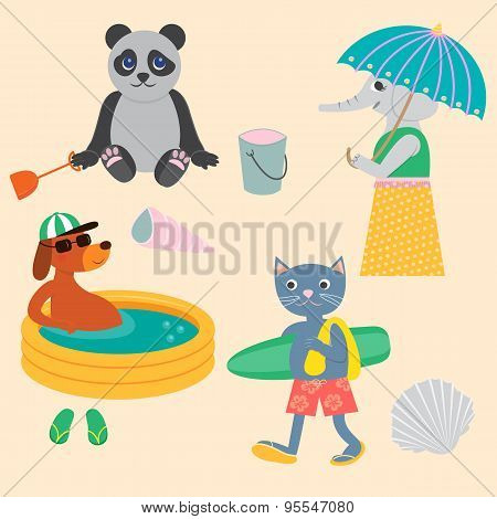 Panda, Dog, Cat And Elephant On The Beach.