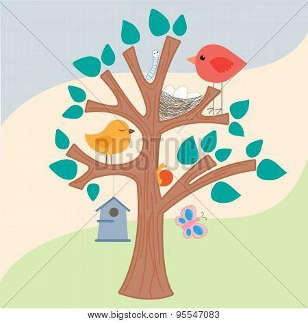 Bird, Nest And  Birdhouse On The Tree