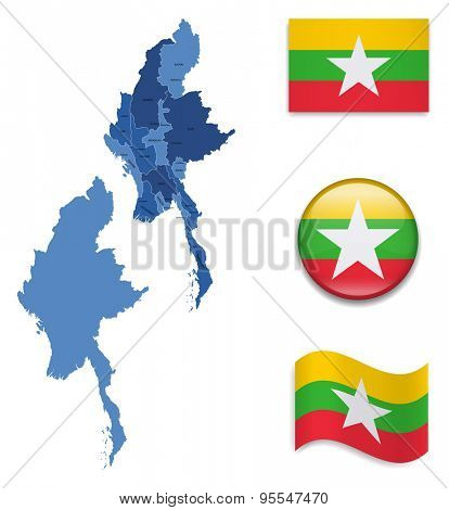 High Detailed Map of Burma With Flag Icons