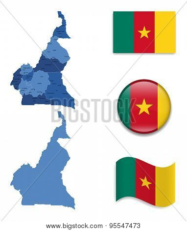High Detailed Map of Cameroon With Flag Icons