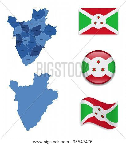 High Detailed Map of Burundi With Flag Icons