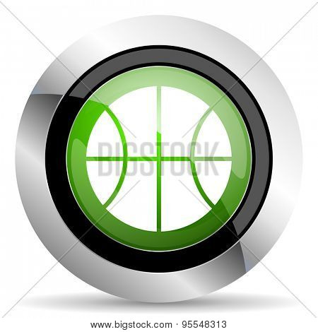 ball icon, green button, basketball sign