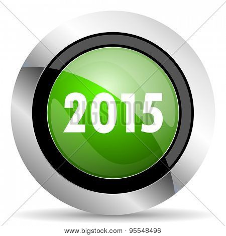 new year 2015 icon, green button, new years symbol