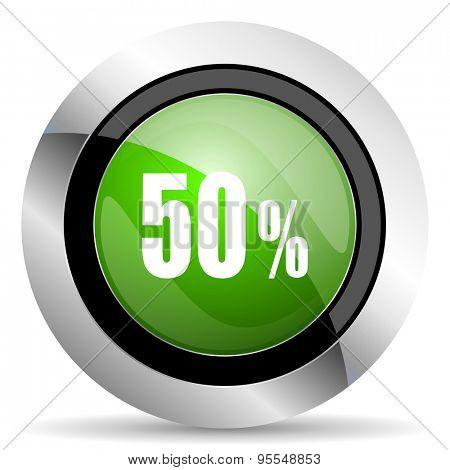 50 percent icon, green button, sale sign